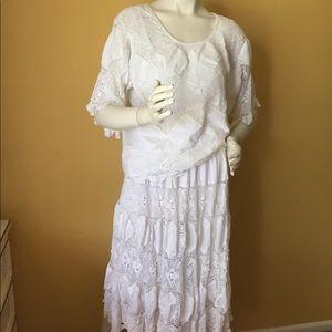 Vintage white crochet skirt set.